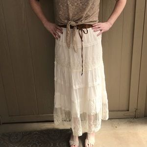 Dresses & Skirts - White Maxi Skirt w Floral Lace